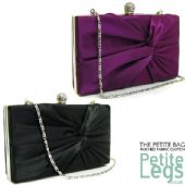 Vera Ruched Fabric with Rhinestone Snap Closure Petite Clutch / Shoulder Evening / Prom Bag in Black or Purple